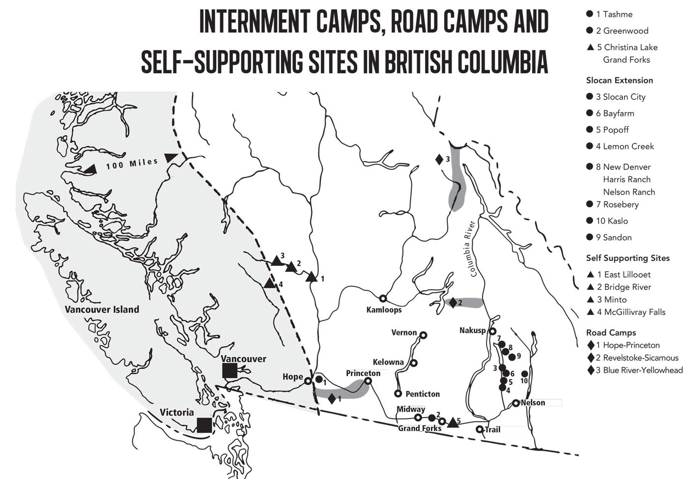 Ten camps were set up in central BC. The largest was a purpose-built camp called Tashme, near Hope, BC. The population in November 1942 was 2,636. Nikkei National Museum 1994.69.4.27